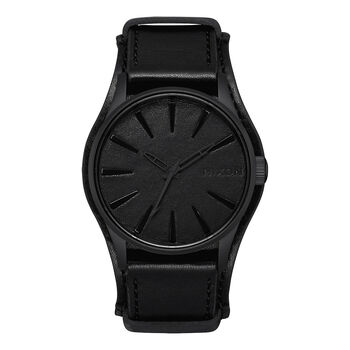 "Sentry Leather ""Black Album"" Nixon Watch, , hi-res"